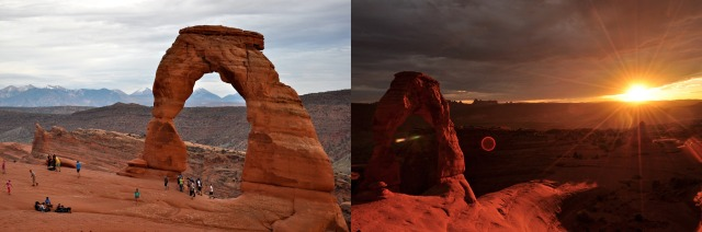Moab, UT. The same arch photographed from two different angles a mere twenty minutes apart.